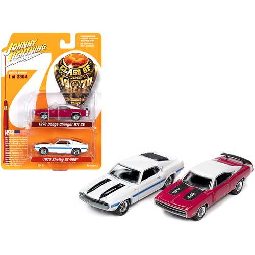 "1970 Dodge Charger R/T SE Panther Pink and 1970 Ford Mustang Shelby GT500 White Set of 2 pieces ""Class of 1970"" Limited Edition to 2304 pieces Worldwide 1/64 Diecast Model Cars by Johnny Li"
