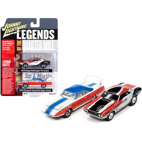 "1970 Dodge Challenger ""Dick Landy"" and 1970 Plymouth Superbird ""Sox & Martin"" ""Legends of the Quarter Mile"" Set of 2 Cars 1/64 Diecast Model Cars by Johnny Lightning"