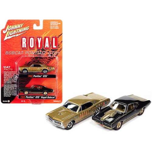 """1966 Pontiac GTO """"Royal"""" Gold and 1969 Pontiac GTO Royal Bobcat Espresso Brown """"Pontiac Royal"""" Set of 2 pieces 1/64 Diecast Model Cars by Johnny Lightning"""