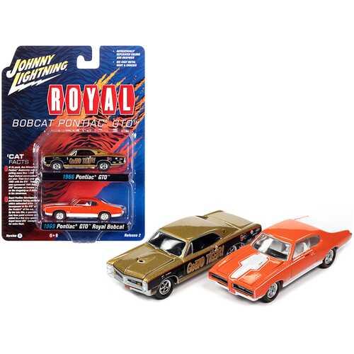 "1966 Pontiac GTO ""GeeTO Tiger"" Gold and 1969 Pontiac GTO Royal Bobcat Orange ""Pontiac Royal"" Set of 2 pieces 1/64 Diecast Model Cars by Johnny Lightning"