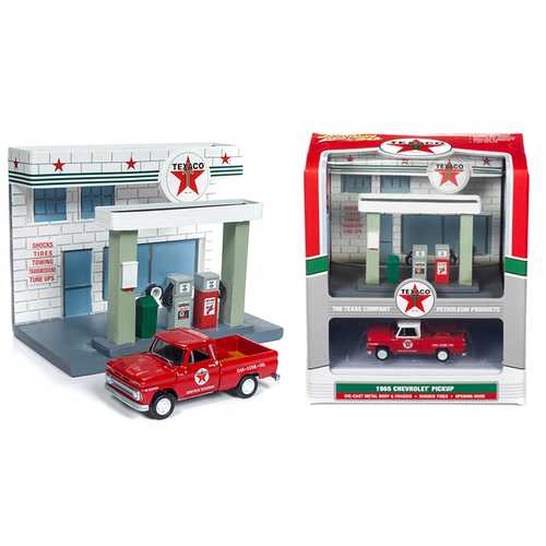 """1965 Chevrolet Pickup Truck and Resin """"Texaco"""" Service Station Diorama Set 1/64 Diecast Model by Johnny Lightning"""