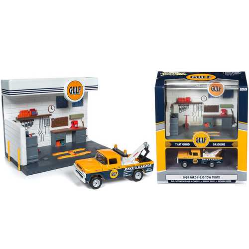 """1959 Ford F-250 Tow Truck and """"Gulf"""" Service Station Diorama Set 1/64 Diecast Model by Johnny Lightning"""
