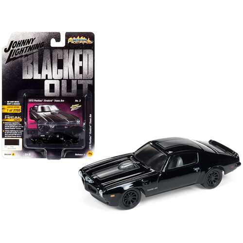 """1973 Pontiac Firebird Trans Am Gloss Black with Dark Silver Stripe """"Blacked Out"""" Limited Edition to 3700 pieces Worldwide 1/64 Diecast Model Car by Johnny Lightning"""