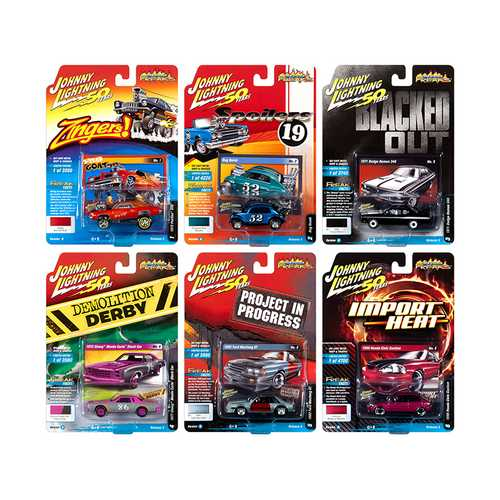"""Street Freaks"" 2019 Set B of 6 Cars Release 3 1/64 Diecast Models by Johnny Lightning"