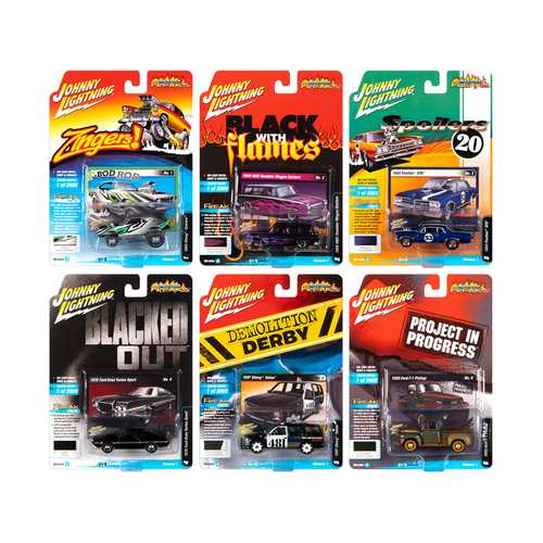 """Street Freaks"" 2020 Set A of 6 Cars Release 1 1/64 Diecast Models by Johnny Lightning"