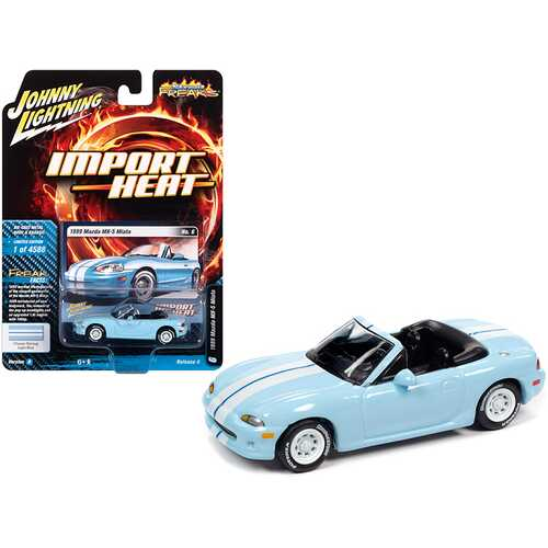 """1999 Mazda MX-5 Miata Convertible Light Blue with White Stripes """"Import Heat"""" Limited Edition to 4588 pieces Worldwide 1/64 Diecast Model Car by Johnny Lightning"""