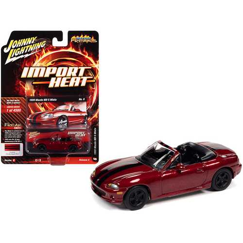 """1999 Mazda MX-5 Miata Convertible Custom Candy Apple Red Metallic with Black Stripes """"Import Heat"""" Limited Edition to 4588 pieces Worldwide 1/64 Diecast Model Car by Johnny Lightning"""