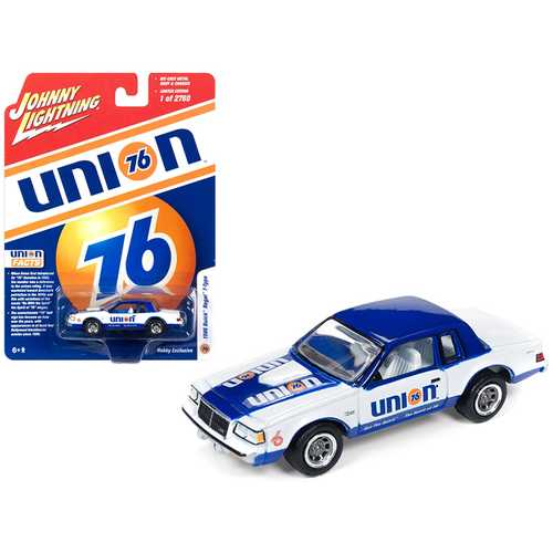 """1986 Buick Regal T-Type """"Union 76"""" White and Blue Limited Edition to 2,760 pieces Worldwide 1/64 Diecast Model Car by Johnny Lightning"""