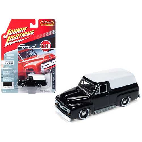 "1955 Ford F100 Panel Delivery Gloss Black with White Top ""Classic Gold"" Limited Edition to 2,016 pieces Worldwide 1/64 Diecast Model Car by Johnny Lightning"