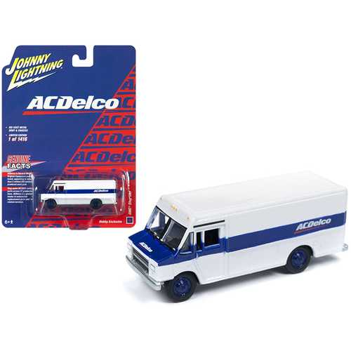 "1990 GMC Step Van ""ACDelco"" White with Blue Stripe Limited Edition to 1,416 pieces Worldwide 1/87 (HO) Scale Diecast Model by Johnny Lightning"