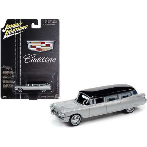 """1959 Cadillac Hearse Silver with Black Top """"Special Edition"""" 1/64 Diecast Model Car by Johnny Lightning"""