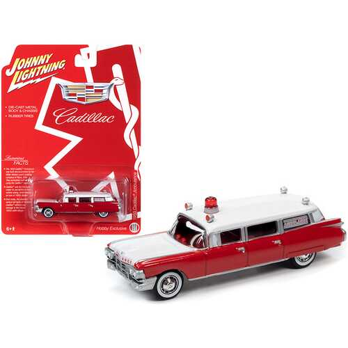 "1959 Cadillac Ambulance Red and White ""Special Edition"" 1/64 Diecast Model Car by Johnny Lightning"