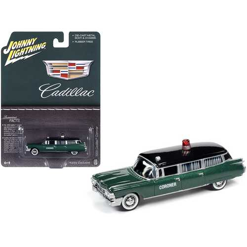 """1959 Cadillac """"Coroner"""" Green Metallic with Black Top """"Special Edition"""" 1/64 Diecast Model Car by Johnny Lightning"""