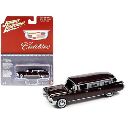 """1959 Cadillac Hearse Brown Metallic """"Special Edition"""" 1/64 Diecast Model Car by Johnny Lightning"""