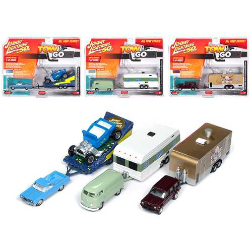 """Tow & Go"" Series 1, Set A of 3 Cars ""Johnny Lightning 50 Years"" Limited Edition to 4,000 pieces Worldwide 1/64 Diecast Model Cars by Johnny Lightning"