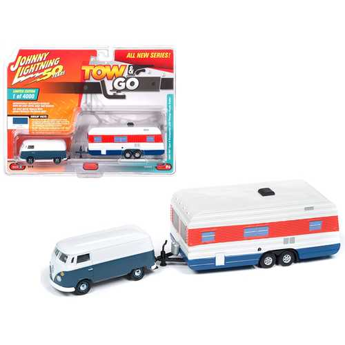 "1965 Volkswagen Type 2 Transporter Dove Blue and White with Vintage House Trailer Limited Edition to 4,000 pieces Worldwide ""Tow & Go"" Series 1 1/64 Diecast Model Car by Johnny Lightning"
