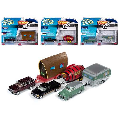 """Tow & Go"" Set B of 3 Cars Series 2 ""Johnny Lightning 50 Years"" 1/64 Diecast Model Cars by Johnny Lightning"