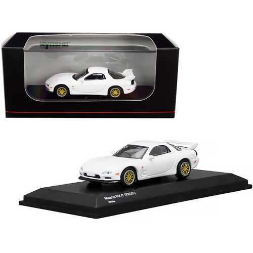 Mazda RX-7 (FD3S) RHD (Right Hand Drive) White with Gold Wheels 1/64 Diecast Model Car by Kyosho