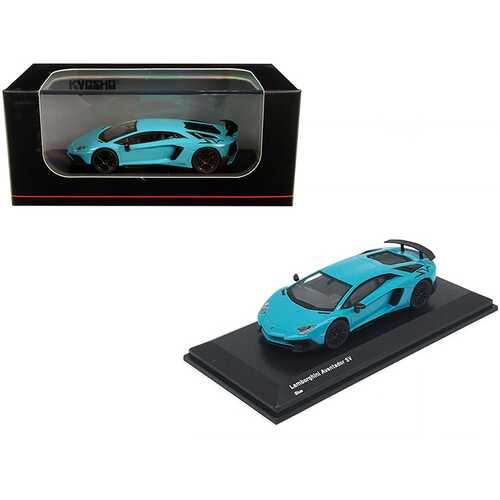 Lamborghini Aventador SV Light Blue 1/64 Diecast Model Car by Kyosho