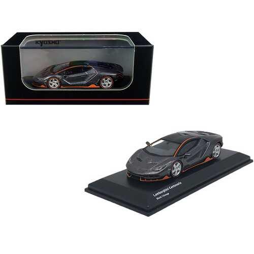 Lamborghini Centenario Black Metallic with Orange Accents 1/64 Diecast Model Car by Kyosho