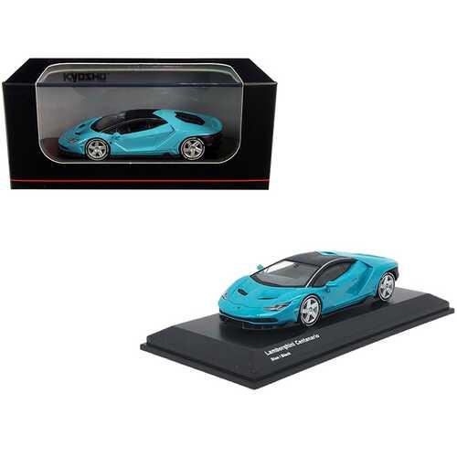 Lamborghini Centenario Light Blue with Black Top 1/64 Diecast Model Car by Kyosho