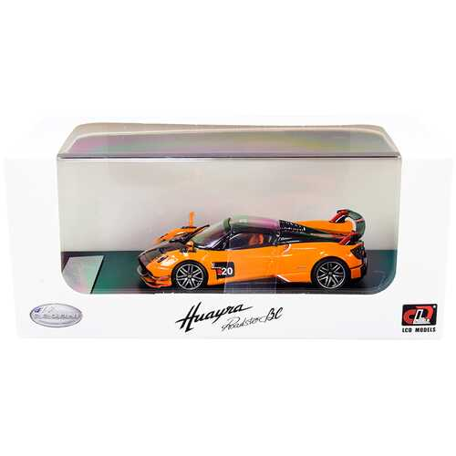 Pagani Huayra Roadster BC Orange and Carbon with Red and White Stripes 1/64 Diecast Model Car by LCD Models