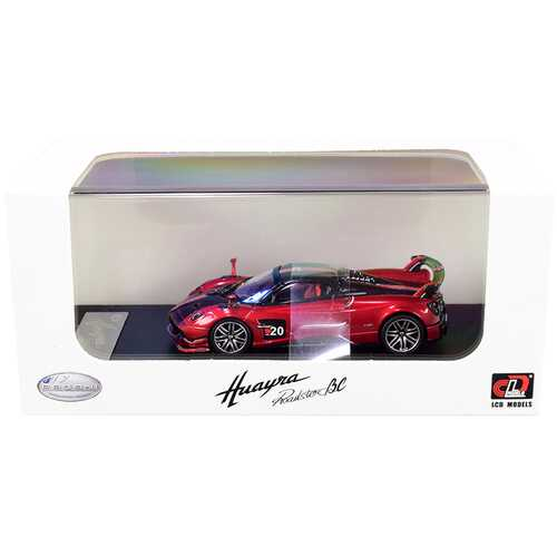 Pagani Huayra Roadster BC Red Metallic and Carbon with Red and White Stripes 1/64 Diecast Model Car by LCD Models