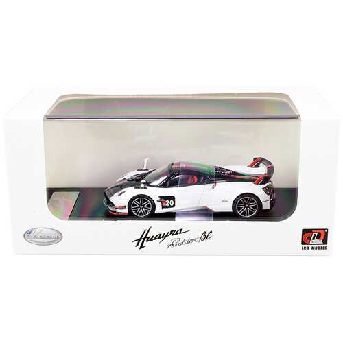 Pagani Huayra Roadster BC White and Carbon with Red and White Stripes 1/64 Diecast Model Car by LCD Models