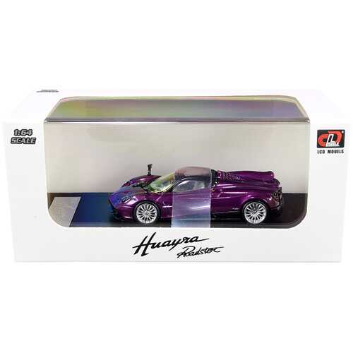 Pagani Huayra Roadster Purple Metallic with Carbon Top and Carbon Accents 1/64 Diecast Model Car by LCD Models