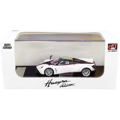 Pagani Huayra Roadster White Metallic and Carbon with Red Stripes 1/64 Diecast Model Car by LCD Models