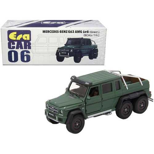 Mercedes Benz G63 AMG 6x6 Pickup Truck Green 1/64 Diecast Model Car by Era Car