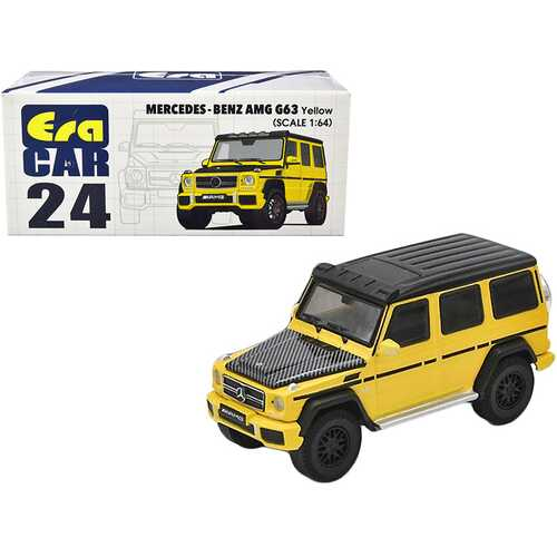 Mercedes Benz AMG G63 Yellow with Black Top and Carbon Hood 1/64 Diecast Model Car by Era Car