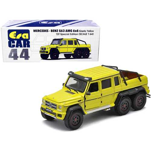 """Mercedes Benz G63 AMG 6x6 Pickup Truck Kinetic Yellow """"1st Special Edition"""" 1/64 Diecast Model Car by Era Car"""