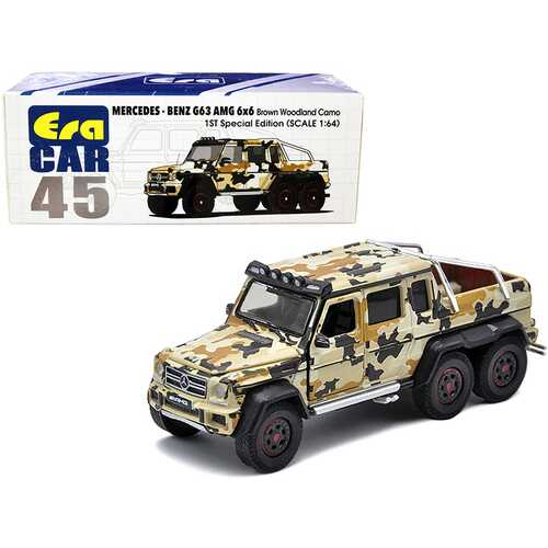 """Mercedes Benz G63 AMG 6x6 Pickup Truck with Spotlight Brown Woodland Camo """"1st Special Edition"""" 1/64 Diecast Model Car by Era Car"""