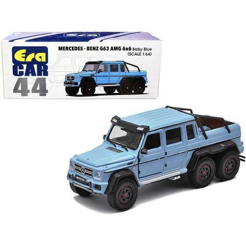 Mercedes Benz G63 AMG 6x6 Pickup Truck Baby Blue 1/64 Diecast Model Car by Era Car