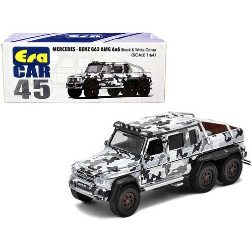 Mercedes Benz G63 AMG 6x6 Pickup Truck with Spotlight Black and White Camo 1/64 Diecast Model Car by Era Car