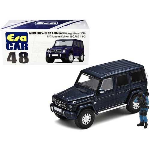 Mercedes Benz G63 (SDU) Midnight Blue Metallic 1ST Special Edition with Officer Figurine 1/64 Diecast Model Car by Era Car