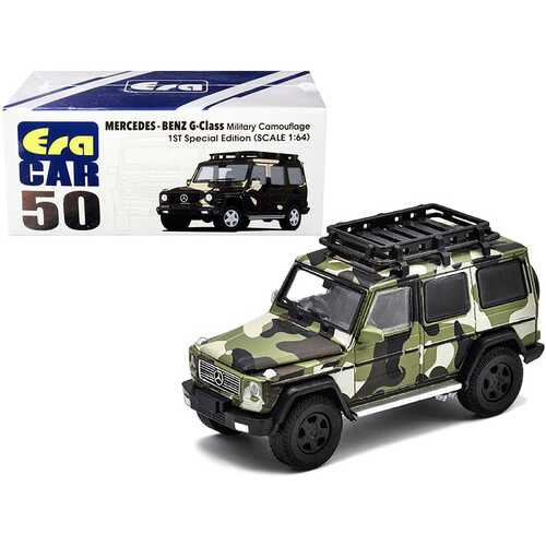 Mercedes Benz G-Class with Roof Rack Military Camouflage 1ST Special Edition 1/64 Diecast Model Car by Era Car