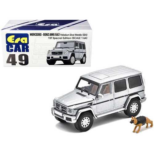 Mercedes Benz G63 (SDU) Palladium Silver Metallic 1ST Special Edition with Police Dog 1/64 Diecast Model Car by Era Car
