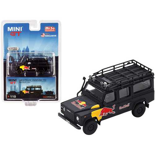 """Land Rover Defender 110 """"Red Bull LUKA"""" Black Limited Edition to 3000 pieces Worldwide 1/64 Diecast Model Car by True Scale Miniatures"""