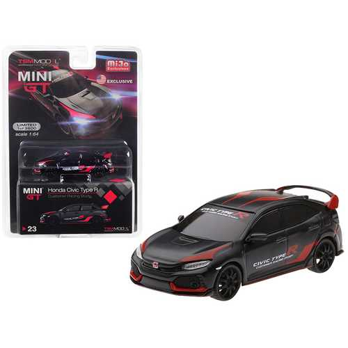 "Honda Civic Type R (FK8) Black ""Customer Racing Study U.S.A."" Limited Edition to 3,600 pieces Worldwide 1/64 Diecast Model Car by True Scale Miniatures"
