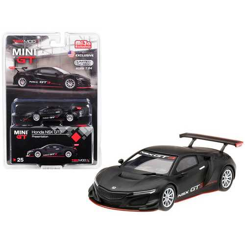 Honda NSX GT3 Presentation Matt Black Limited Edition to 3,600 pieces Worldwide 1/64 Diecast Model Car by True Scale Miniatures