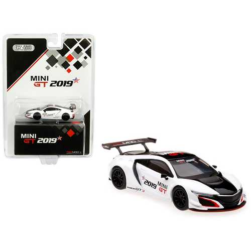 "Acura NSX GT3 White with Black Stripe ""2019 Mini GT"" Limited Edition to 1,200 pieces Worldwide 1/64 Diecast Model Car by True Scale Miniatures"