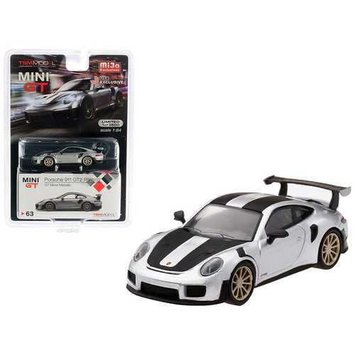 Porsche 911 GT2 RS Weissach Package GT Silver Metallic with Carbon Stripes Limited Edition to 3,600 pieces Worldwide 1/64 Diecast Model Car by True Scale Miniatures
