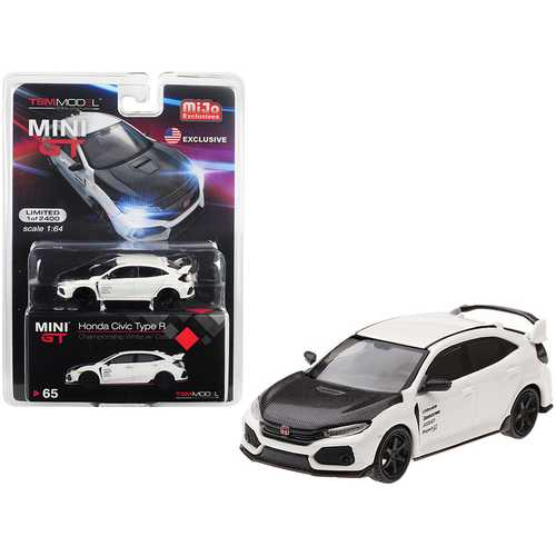 Honda Civic Type R (FK8) Championship White with Carbon Hood and TE37 Wheels Limited Edition to 2,400 pieces Worldwide 1/64 Diecast Model Car by True Scale Miniatures