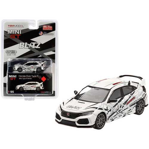 "Honda Civic Type R (FK8) RHD (Right Hand Drive) White ""BLITZ"" Limited Edition to 1200 pieces Worldwide 1/64 Diecast Model Car by True Scale Miniatures"