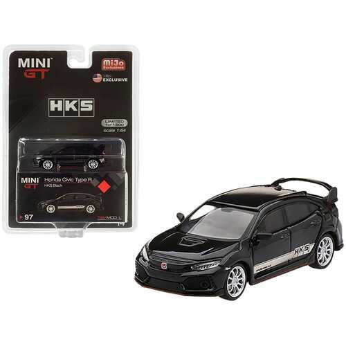 "Honda Civic Type R (FK8) RHD (Right Hand Drive) Black with White Stripes ""HKS"" Limited Edition to 1200 pieces Worldwide 1/64 Diecast Model Car by True Scale Miniatures"