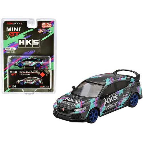 Honda Civic Type R (FK8) HKS Time Attack (2018) Limited Edition to 1200 pieces Worldwide 1/64 Diecast Model Car by True Scale Miniatures