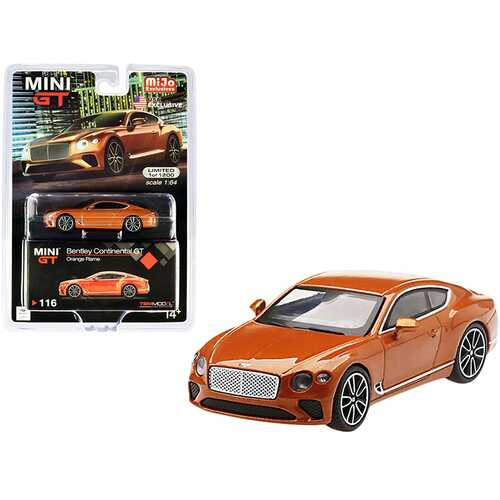 Bentley Continental GT Orange Flame Metallic Limited Edition to 1200 pieces Worldwide 1/64 Diecast Model Car by True Scale Miniatures
