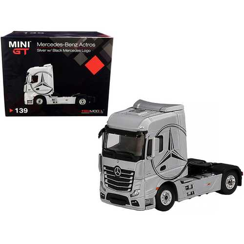 Mercedes Benz Actros Truck Tractor Silver with Black Mercedes Logo 1/64 Diecast Model by True Scale Miniatures